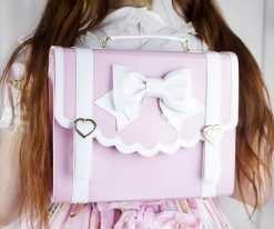 SAMPLE 1 - Frilly Academy 3way Bag - Pink with White =