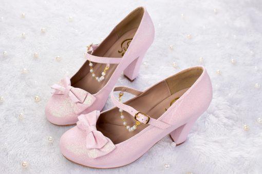 SAMPLE SALE - Crystal Twinkle Ball Shoes Pink Glitter 38EU