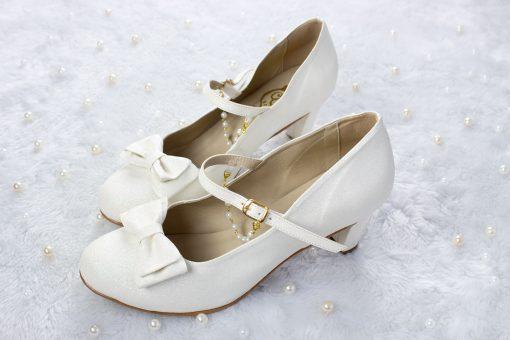 SAMPLE SALE - Crystal Twinkle Ball Shoes  White Glitter 43EU